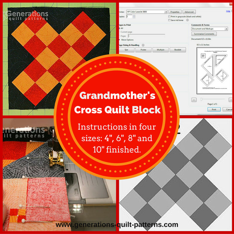 Grandmothers Cross Quilt Block: Instructions in 4 sizes