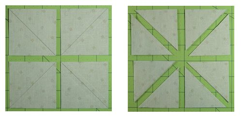 Cut the sewn #1/#12 first into 4 squares and then into 8 triangle squares