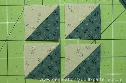 Trim the half square triangles to size referring to the cutting chart for the correct size