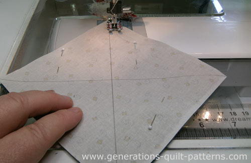 Sew a quarter inch away from both sides of both lines