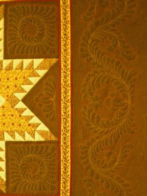 A close-up of some of the quilting