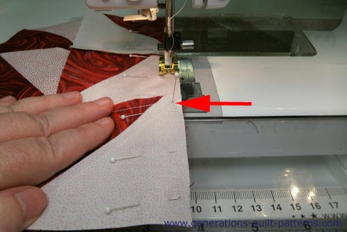 Pin the rows together and stitch