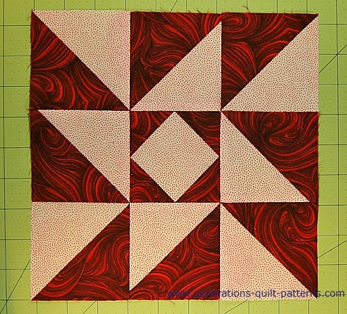 The finished Indiana Puzzle quilt block