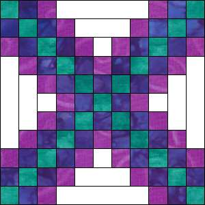 Irish Chain quilt Block - alternate piecing method