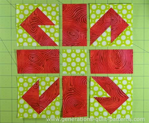 Lay out the cut and pieced units into rows