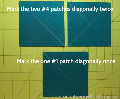 Draw the cutting lines on the backs of the #1 and #4 patches