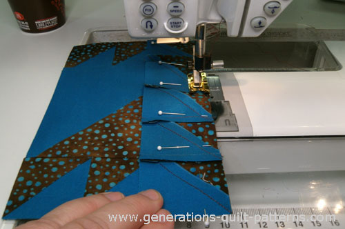 Sew the rows together, pin if needed