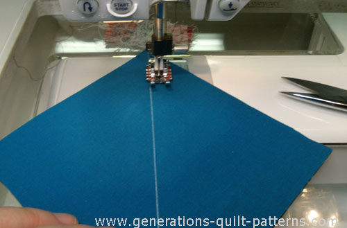 Sew a quarter inch from the drawn line on #1 on one side only