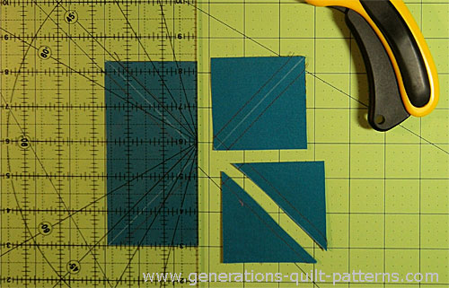 Cut all the squares in two along the drawn diagonal line.