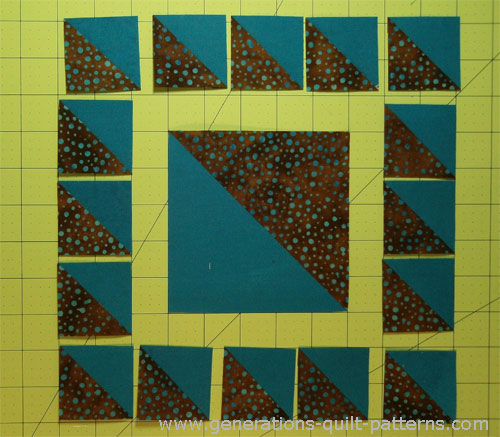 Lay out the half square triangles