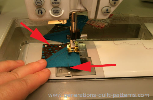 I've found that pinning like this keeps my seam line even across the whole patch