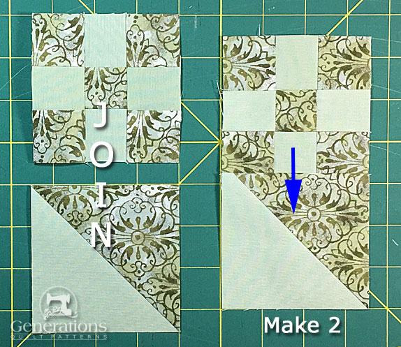 Make 2 quarter blocks