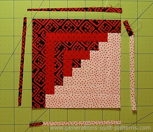 Our finished Log Cabin quilt block