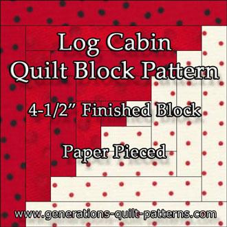 Log Cabin quilt pattern, 4-1/2