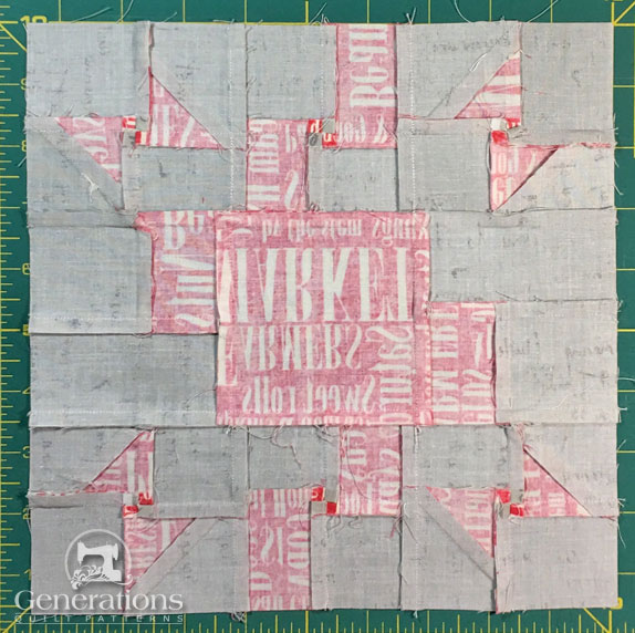 Love and Kisses quilt block - back side