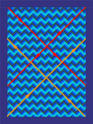Machine quilting diagonal lines for an on-point set of blocks