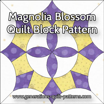 The Magnolia Blossom quilt block pattern