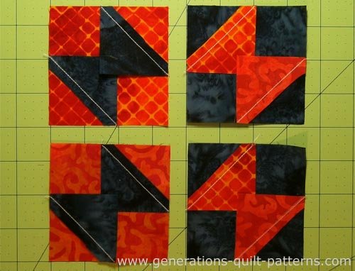 Trim the excess fabric from the small squares leaving a 1/4