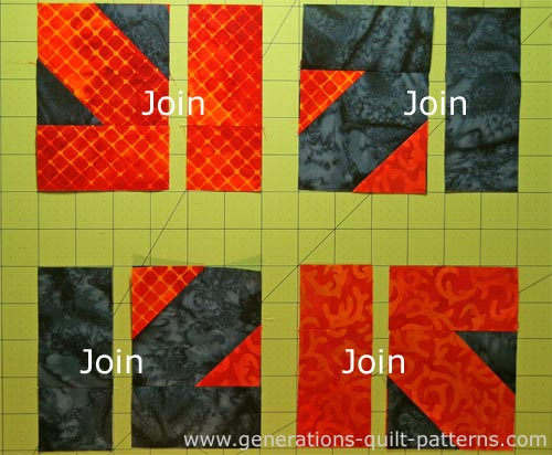 Sew the pairs of units in each corner together.