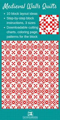 Click here for inspiration for the Medieval Walls quilt block
