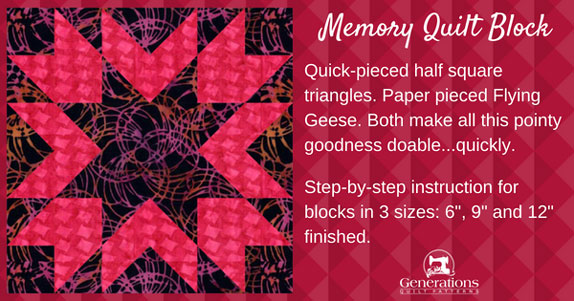 The Memory quilt block tutorial starts here.