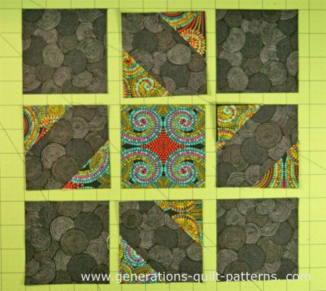 Lay out the patches for the Mississippi quilt block into rows