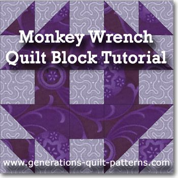 A tutorial for making this Monkey Wrench quilt block pattern variation