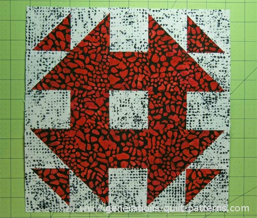 The finished Monkey Wrench quilt block pattern