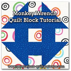 Monkey Wrench quilt block tutorial
