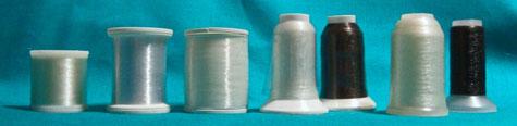 An assortment of monofilament threads