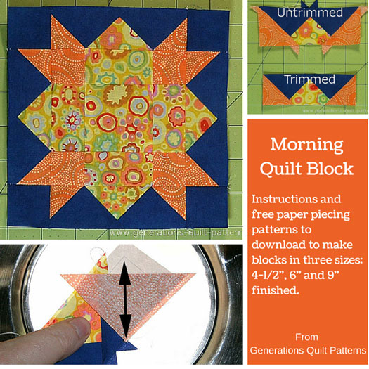 Morning Quilt Block: Pattern in 4-1/2