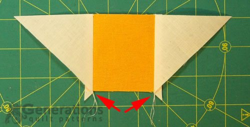 A #3 squares with a #2 QST sewn to each side