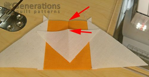 Fingerpress a crease to mark the centers