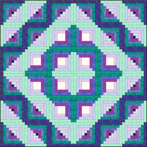 Log Cabin quilt pattern - Design 3