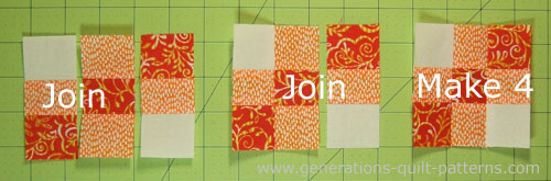 Arrange the subcuts for stitching into a nine patch.