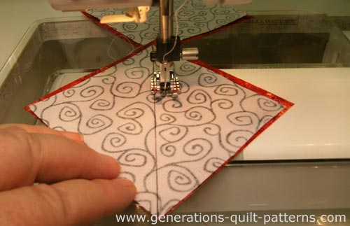 Stitch a quarter inch away from both sides of the drawn line