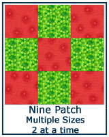 Nine Patch quilt blocks from two squares