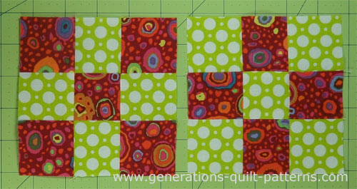The two finished nine patch quilt blocks