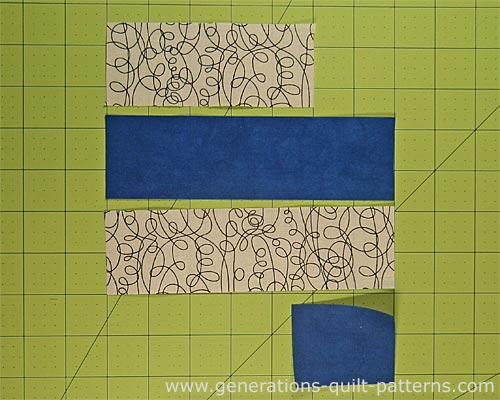 Cut strips for strip piecing a single nine patch block