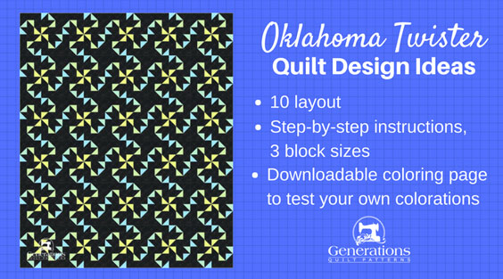 The Oklahoma Twister quilt block--with all its twirly-swirly goodness--offers some interesting design challenges. Review 10 different settings to see which appeals to YOU!