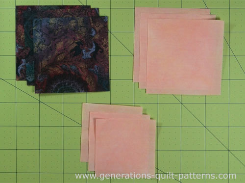 Cut patches for your Old Maid's Puzzle quilt block
