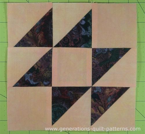 A finished Old Maid's Puzzle quilt block