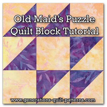 Old Maid's Puzzle quilt block tutorial