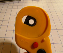 Olfa rotary cutter - left side of handle