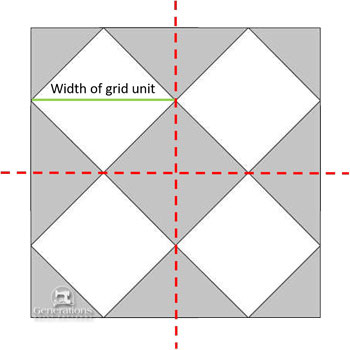 Draw a four-patch over the block design