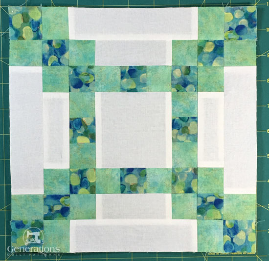 A finished On the Square quilt block