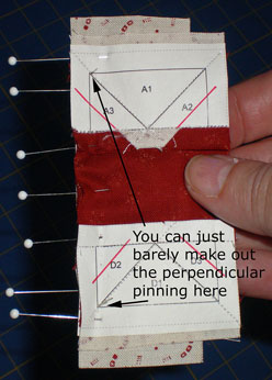 Paper Foundation Piecing - Perpendicular pinning, back