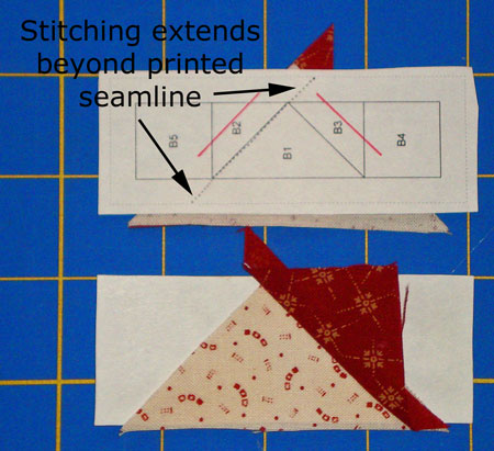 Paper piecing instructions - sew first seam