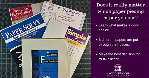 Learn what makes a good paperpiecing paper. See how 6  products compare to each other.   Find out which will work best for you?