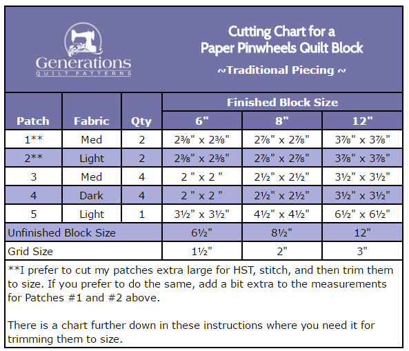 Cutting chart for Paper Pinwheels